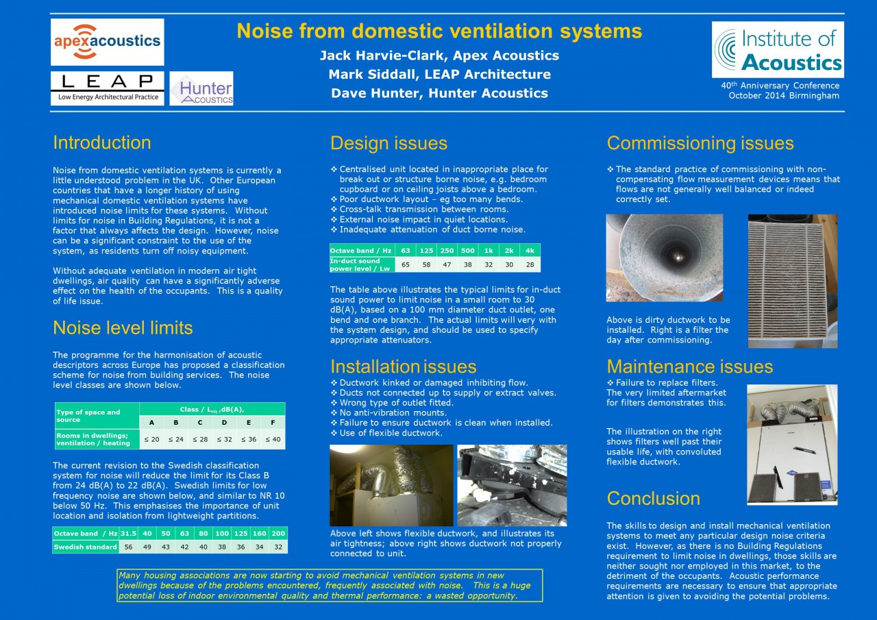 Apex Acoustics MVHR design poster